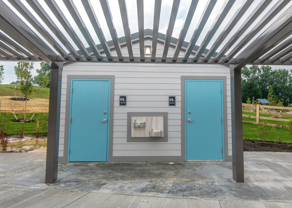 Outside picture of restrooms