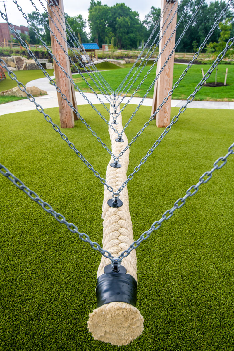 The rope swing allows children to climb, swing, sit, lay, hang or balance with friends.