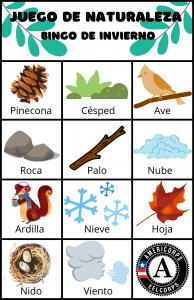 Nature Play Winter Bingo Card in Spanish